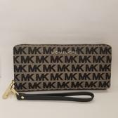美國 MICHAEL KORS JET SET TRAVEL 荔枝紋皮革 拉鍊長夾 咖啡色+黑色MK布面刺繡設計