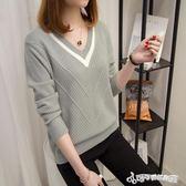 針織衫 針織衫女套頭短款韓版寬鬆秋裝新款長袖女士V領小清新 Cocoa