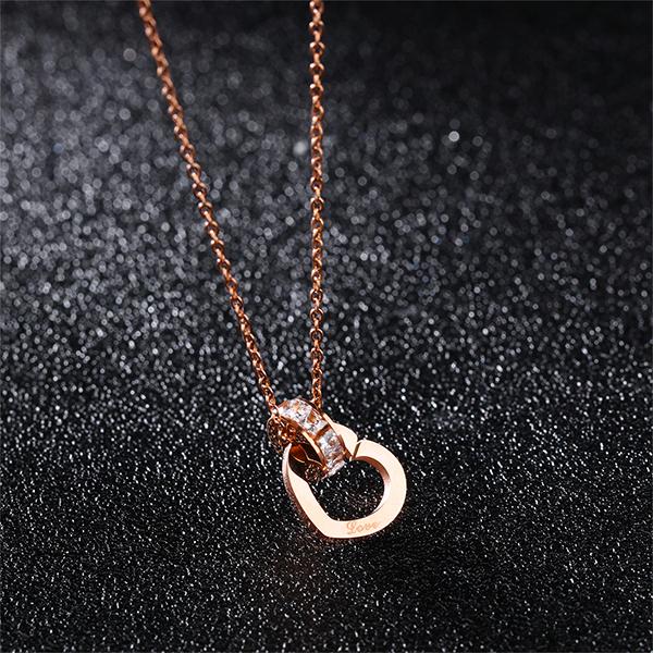 316L鈦鋼項鍊 玫瑰金色 水鑽愛心造型 環環相扣  甜美項鍊 送禮物推薦 單條價【AKS1271】Z.MO鈦鋼屋