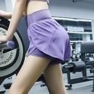 運動褲 運動短褲女防走光寬鬆高腰錦綸速干跑步休閒褲假兩件健身瑜伽褲夏
