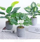 盆景盆栽花盆創意模擬龜背葉假盆栽植物室內房間裝飾品擺設辦公桌模擬綠植擺件  igo免運