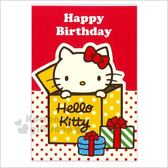 〔小禮堂〕Hello Kitty 迷你造型直式生日卡片《紅.紙盒裡》送禮卡.祝賀卡.節慶卡 4714581-18269