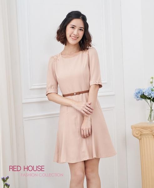【RED HOUSE 蕾赫斯】蕾絲剪裁洋裝