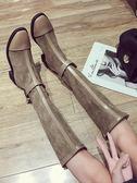過膝女秋季英倫風學生百搭機車騎士靴黑色粗跟瘦瘦靴   艾維朵
