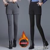 假兩件褲加絨加厚打底褲女秋冬外穿假兩件高腰彈力褲裙保暖大碼顯瘦小 快速出貨