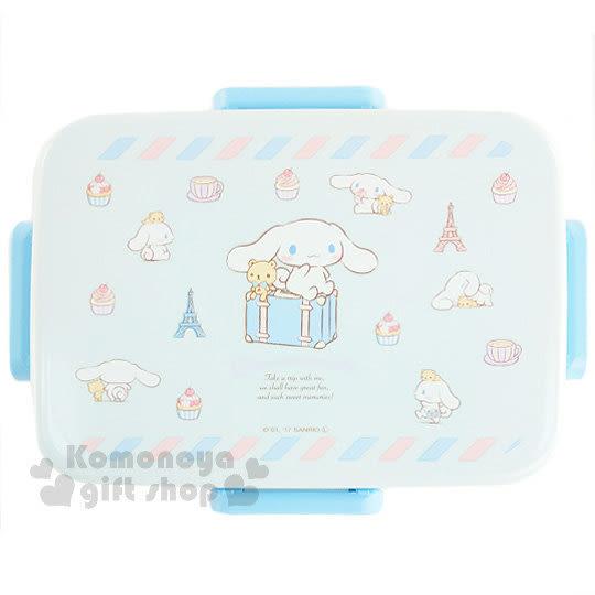 〔小禮堂〕大耳狗 日製四面扣便當盒《藍.行李箱.坐姿.650ml》內附隔板可將食物分類 4973307-38274