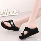 時尚拖鞋女夏外穿韓版一字式套趾拖防滑沙灘鞋坡跟厚底夾腳涼拖鞋 印象家品