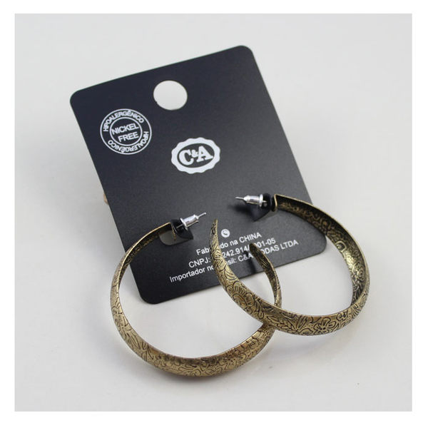 star 日韓系列 -歐美外貿原單飾品 品牌複古金色刻花環形耳飾-D152