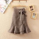 魚尾裙 冬季新款韓版加厚a字高腰毛呢格子顯瘦魚尾裙荷葉邊半身裙打底裙