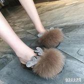 穆勒鞋女秋冬季包頭平底鞋女外穿拖鞋百搭毛毛鞋潮 zm6718『俏美人大尺碼』