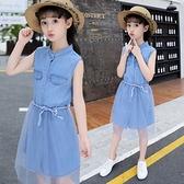 女童洋裝2021新款兒童洋氣韓版夏季女孩寶寶公主裙子中大童夏裝 幸福第一站