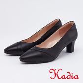 kadia.頂級小羊皮素面尖頭粗跟包鞋(0065-91黑色)