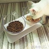 寵物碗 貓碗雙碗保護脊椎寵物狗盆狗碗貓盆貓食盆貓糧飯盆碗斜口碗貓碗架『鹿角巷』