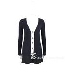 TORY BURCH Ribbed Simone 美麗諾羊毛深藍色羅紋開襟針織衫 外套 2040383-34