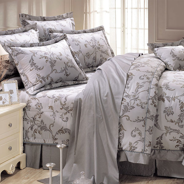 床罩組 PIMA匹馬棉 雙人400織 七件式兩用被床罩組/阿雷克斯_高貴銀[鴻宇]台灣製1978