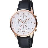 agnes b. 法國時尚三眼計時腕錶-白x玫塊金框/40mm VD57-KY30Z(BM3017J1)