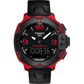 TISSOT 天梭 T-Race鋁合金碳纖維觸控錶-紅/42mm T0814209720700