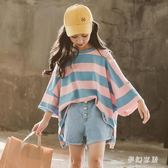 女童短袖t恤2019新款夏裝兒童洋氣條紋半袖中大童裝韓版寬鬆上衣 qf25180【pink領袖衣社】