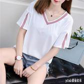 大碼 短袖t恤女寬鬆學生韓版ins潮2019新款女裝百搭半袖上衣服 js23952『Pink領袖衣社』