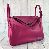 BRAND楓月 HERMES 愛馬仕  A刻 L3玫瑰紫 LINDY30 SWIFT 大容量 手提包 肩背包 單肩背包