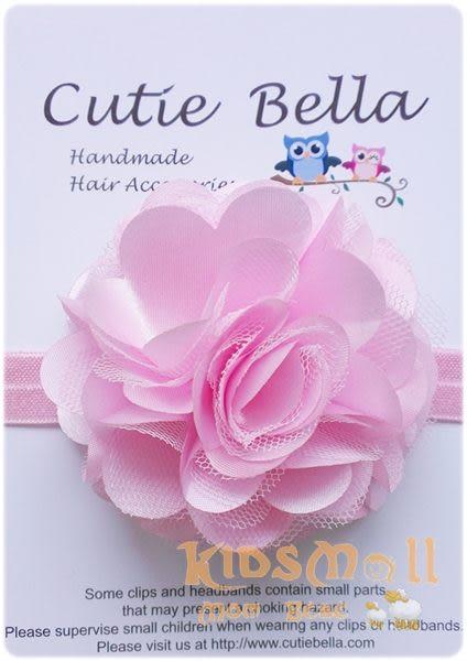 Cutie Bella彈性絲蕾絲茶花髮帶-Pink