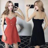 洋裝夏裝學院風時尚性感露肩針織吊帶裙修身顯瘦A字連身裙「千千女鞋」