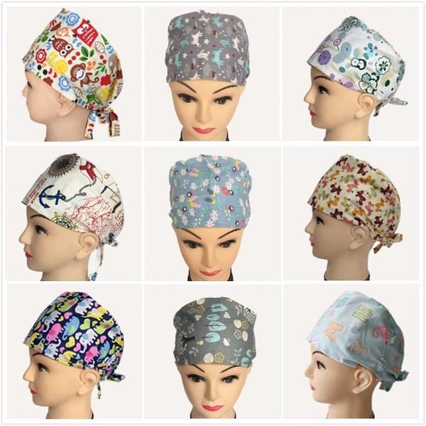 純棉手術室印花帽子男女醫生護士牙科工作帽包頭巾手術帽月子帽