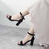 一字扣帶涼鞋女粗跟仙女風高跟女鞋