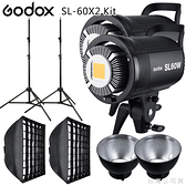 EGE 一番購】GODOX【SL60 X2 Kit雙燈套組】COB高亮度LED補光燈 60W大功率 保榮卡口【公司貨】