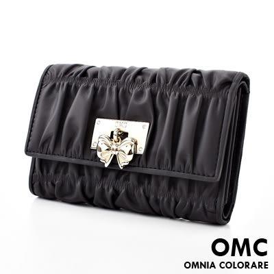 OMC - 可愛貴婦蝴蝶結抓皺牛皮中夾 - 經典質感黑