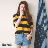 藍色巴黎~ 百搭混色條紋寬鬆圓領短袖上衣T 恤大學T ~28665 ~