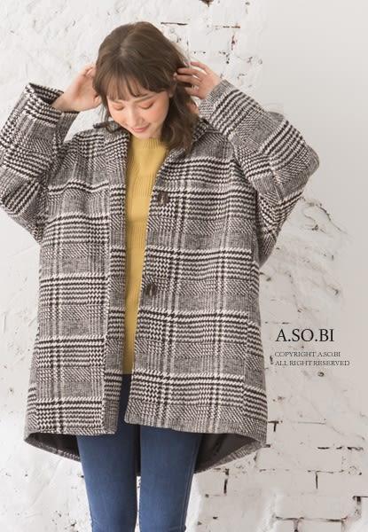 A-SO-BI韓系-千鳥格紋毛料厚棉西裝領長版大衣外套【R10575-14】