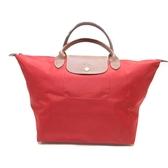 LONGCHAMP 紅色帆布手提包 【二手名牌BRAND OFF】