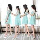 2018新款韓版小禮服伴娘團姐妹裙網紗中袖包肩抹胸