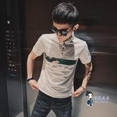 polo衫 2020夏新款短袖t恤男韓版潮流社會網紅翻領POLO衫精神小伙半袖les 2色