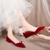 婚鞋 結婚鞋女2021新款粗跟秀禾服新娘鞋子中式孕婦紅色平底鞋婚鞋冬季  美物 99免運