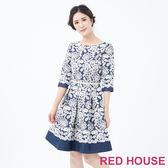 RED HOUSE-蕾赫斯-優雅花朵洋裝(藍色)
