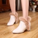 裸靴[32~43]冬天穿的粗跟高跟女鞋冬鞋子米白色女靴子帶毛毛短靴雪地冬靴 - 古梵希