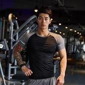 健身服男緊身短袖T恤運動跑步緊身衣彈力速干教練服緊身短袖男【韓衣舍】