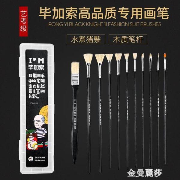 水粉畫筆套裝黑騎士扇形筆顏料丙烯排筆繪畫成人筆刷色彩美術用筆igo 金曼麗莎