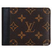 【Louis Vuitton 路易威登】 M93801 經典Monogram花紋牛皮鑲間短夾