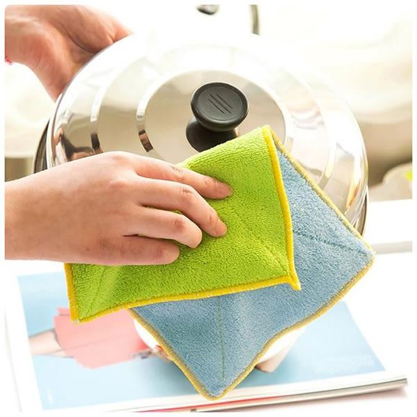 【雙色抹布】雙面雙色洗碗巾 洗碗布 彩色超細纖維清潔毛巾