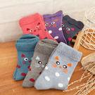 螺紋花邊圓點羊毛保暖短襪