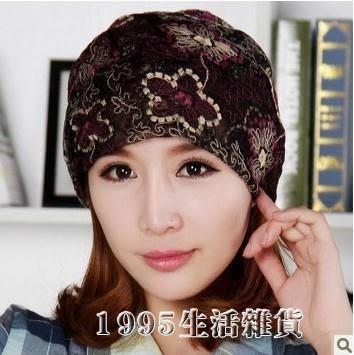 頭巾帽 韓版潮帽子女夏薄款蕾絲花朵頭巾圍脖兩用鏤空調月子化療堆堆睡帽 1995生活雜貨