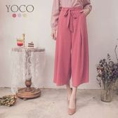 東京著衣【YOCO】柔美百搭綁帶厚雪紡多色寬褲-S.M.L(181557)