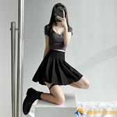 黑色百褶裙女短裙半身裙春秋新款高腰顯瘦學生格子jk裙a字裙【勇敢者】