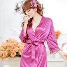 甜蜜嬌妻 素面絲緞一件式睡袍(神秘紫)