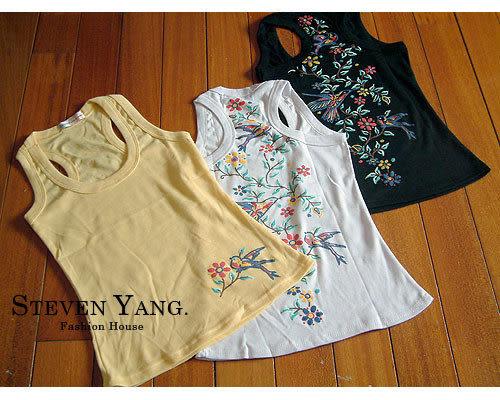 STEVEN YANG韓系 小鳥花卉圓領純綿背心 正反兩面都有圖案 各色任選 超值特賣
