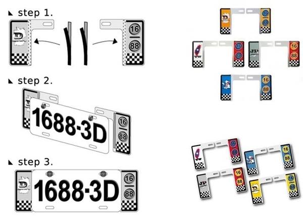 車之嚴選 cars_go 汽車用品【SJ-5021】立體地圖版汽車精緻車牌左右裝飾框(舊6碼牌照專用)-4種選擇