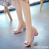 魚嘴涼鞋2020夏季新款韓版粗跟高跟鞋舒適潮款女士復古單鞋休閒鞋  圖拉斯3C百貨